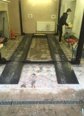 Lancaster Garage Victorian Tiled Floor Before Cleaning