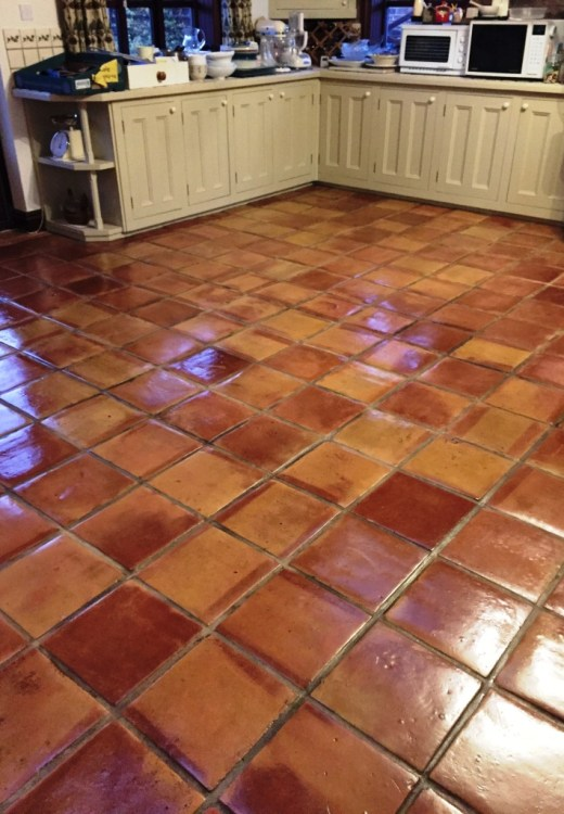 Mexican Terracotta Kitchen Floor Ormskirk After and Sealing