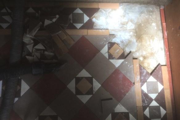 Edwardian Tiled Floor During Tile Repair in Lytham