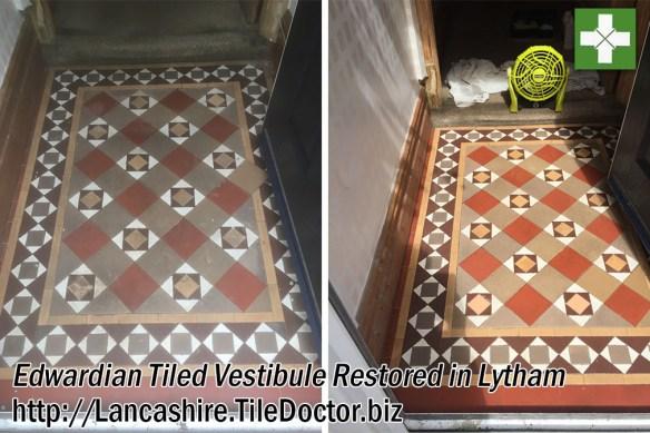 Edwardian Tiled Vestibule Before and After Restoration in Lytham