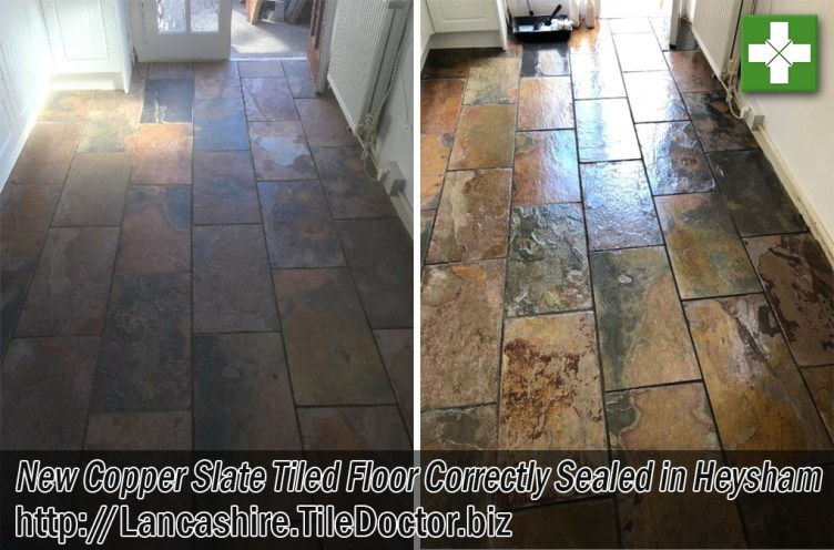 Copper Slate Tiled Floor Before and After Cleaning and Sealing Heysham