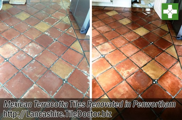 Mexican Terracotta Tiled kitchen Before and After Renovation Penwortham
