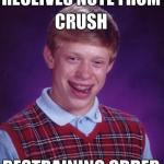 Bad Luck Brian Get Note From Crush