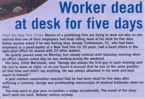 Worker Dead At Desk For Five Days image
