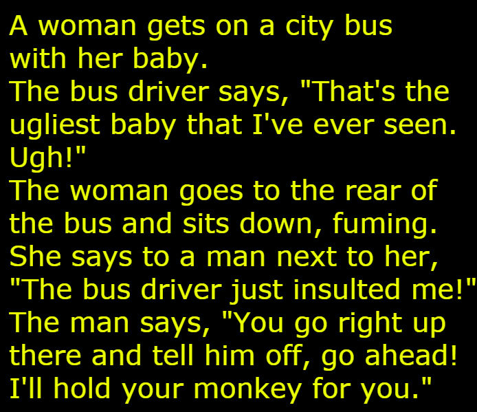 Woman Bus Baby joke image