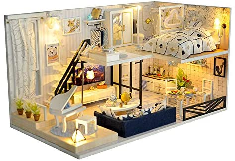 UniHobby DIY Miniature Dollhouse Kit with LED Lights Furniture Dust Proof 1:24 Scale STEM Building Toys Mini Doll House Gifts for Girls Friends Boys Mom Wife Daughter and Friends