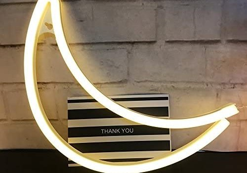Decorative Crescent Neon Moon LED Moon Art Marquee Signs-Nursery Night Lamp Gift-Wall Decor Lighs for Birthday Party,Kids Room, Living Room(Warm White)