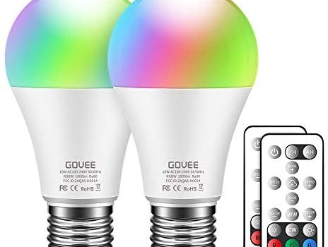 Govee Color Changing Light Bulbs, 10W 1000lm RGBWW LED Bulbs with Remote, Dimmable Multicolor Decorative Light Bulbs for Bedroom, Party, Warm White 2700K, Cool White 6500K (2 Pack)