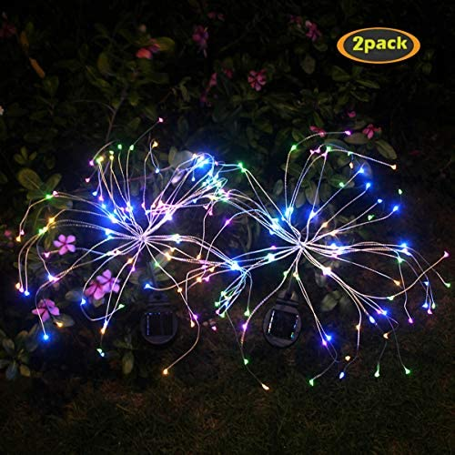 AMAshop-US Outdoor Solar Garden Lights,105 LED Solar Powered Decorative Stake Landscape Light DIY Flowers Fireworks Stars for Walkway Pathway Backyard Christmas Party Decor 2 Pack(Mulit-Color)