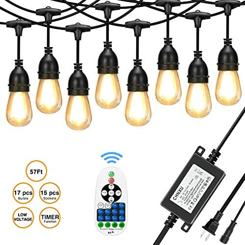 [Upgraded] CHNXU 57ft LED Outdoor String Lights Waterproof with DC 24V Low Voltage Transformer and Remote Control Dimmer,15+2spare LED Hanging Vintage Bulbs for Decorative Patio Backyard – Warm White