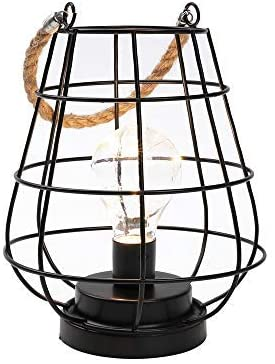 JHY DESIGN 8.5″ Cage Bulb Lantern Decorative Lamp Battery Powered Cordless Accent Light with Warm White Fairy Lights LED Edison Bulb Lamp for Living Room Bedroom Kitchen Wedding & Christmas (Black)