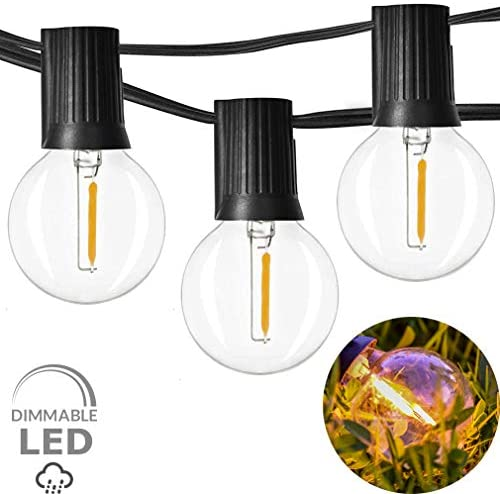 Outdoor String Lights LED Newpow 48ft with 23+2 Spare Bulbs -Clear Glass, Dimmable Waterproof, 1W 60LM 2200K Warm Glow for Indoor/Outdoor Decoration and Lighting -Black Wire