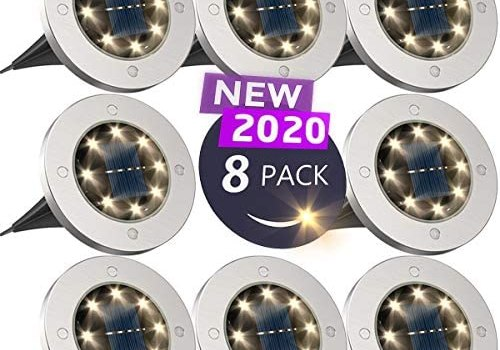 Solar Ground Lights,Disk Lights Solar Powered – 8 LED ,Outdoor in-ground Solar Lights for Landscape,Walkway,Lawn ,Steps Decks,Pathway Yard Stairs Fences, LED lamp, Waterproof(8 Warm White)