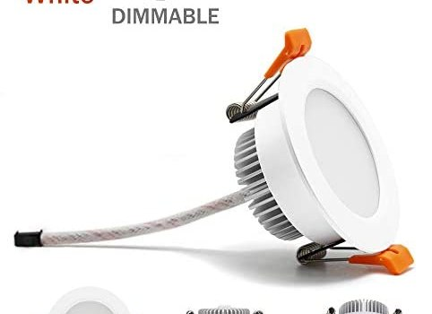 3 inch Dimmable LED Downlight, 110V 5W, 6000K Daylight/Pure White Retrofit Recessed Lighting, CRI 80 with LED Driver, No Can Needed, 4 Pack