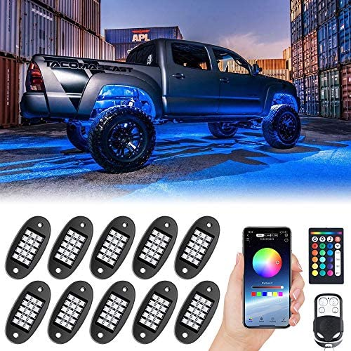 MustWin RGB LED Rock Lights, 150 LEDs Multicolor Neon Underglow Waterproof Music Lighting Kit with APP & RF Control for Jeep Off Road Truck Car ATV SUV Motorcycle (10 Pods)