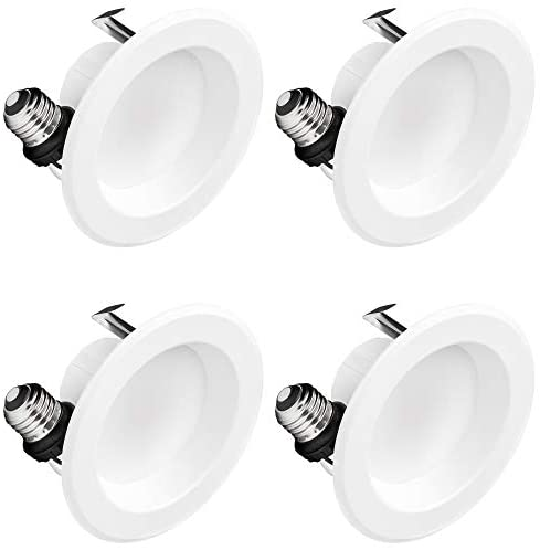 Hyperikon 4 Inch LED Recessed Lighting, 9W=65W, Dimmable Downlight, UL, Energy Star, Daylight White, 4 Pack