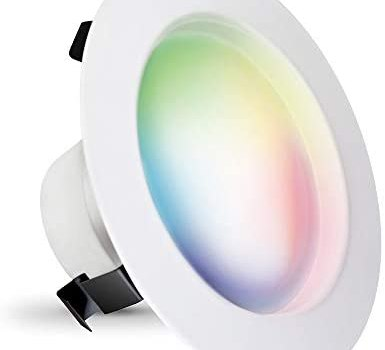 Feit Electric Smart WiFi LED Color Changing and Dimmable Recessed Downlight LED Retrofit Kit, No Hub Required, Works with Alexa and Google Assistant(LEDR4/RGBW/AG), White, 5″ Dia. x 2.5″ L