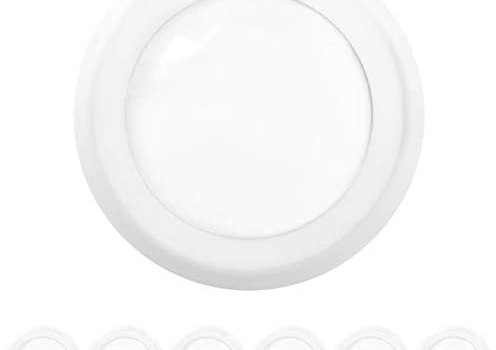 Sunco Lighting 6 Pack 5 Inch / 6 Inch Flush Mount Disk LED Downlight, 15W=100W, 3000K Warm White, 1050LM, Dimmable, Hardwire 4/6″ Junction Box, Recessed Retrofit Ceiling Fixture