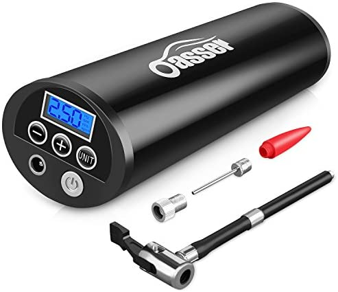 Oasser Portable Air Compressor Mini Air Inflator Hand Held Tire Pump with Digital LCD LED Light Li-ion 12V 150PSI for Car Bicycle RV and Other Inflatables P1