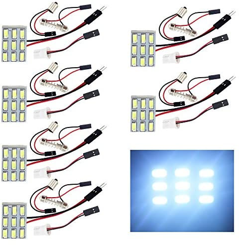 EverBrightt 6-Pack Cool White 5730 9SMD Led Panel Dome Light Auto Car Reading Interior Light DC 12V With T10 / BA9S / Festoon Adapters