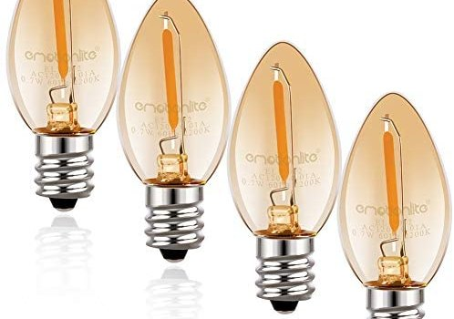 Night Light Bulbs, Emotionlite Amber LED C7 Bulb, 4W 5W 6W 7W Equivalent, E12 Candelabra Base, Salt Lamp and Nightlight Replacement Bulb, 0.5W, Amber Yellowish 2200K, 50LM, Amber, 4 Pack