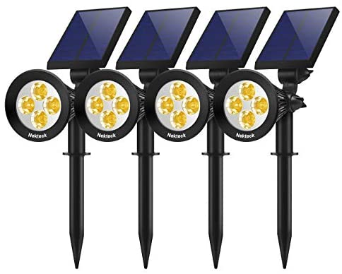 Nekteck 4 Pack Solar Light Outdoor, 2-in-1 Outdoor Solar Spotlights Powered Adjustable Wall Light Landscape Lighting, Bright and Dark Sensing, Auto On/Off for Yard, Pathway, Walkway, Garden, Driveway