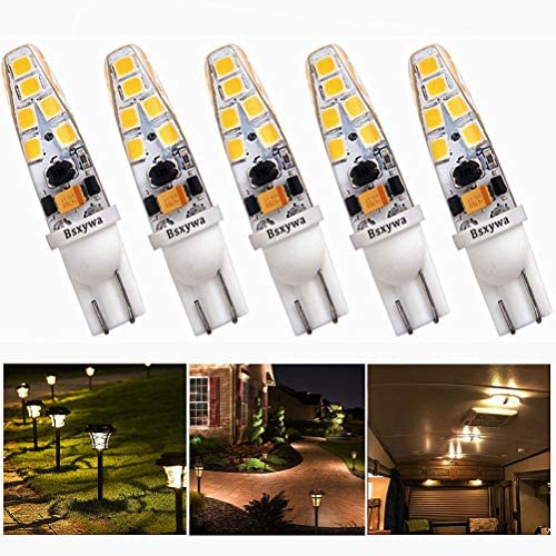 Bsxywa T5 T10 921 194 Wedge Base Low Voltage Landscape 12V LED Bulb, 25W Equivalent 2W, Warm White 3000K for Outdoor Landscape RV Camper Marine Boat Walkway Lawn Lighting. 5-Pack
