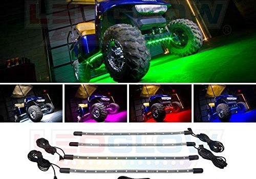 LEDGlow 4pc Standard Million Color LED Golf Cart Underglow Accent Neon Lighting Kit for EZGO Yamaha Club Car – Water Resistant Flexible Tubes – Previous Model