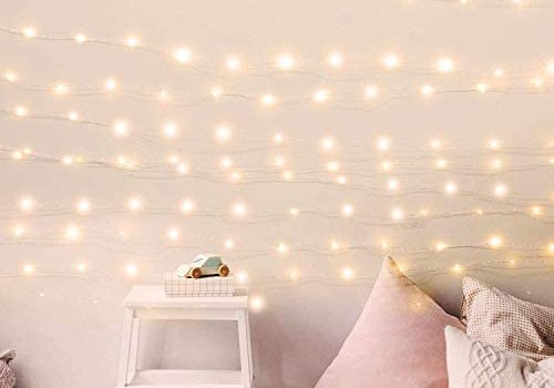 200 LED Fairy Lights 66FT Starry String Lights Waterproof Firefly Lights Warm White on Copper Wire – UL Adaptor Included, for Indoor Outdoor Christmas Decorative Patio Wedding Garden