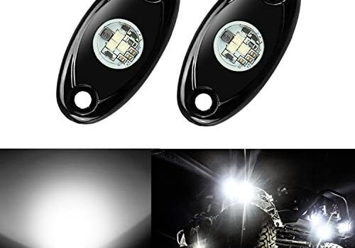 2 Pods LED Rock Lights, Ampper Waterproof LED Neon Underglow Light for Car Truck ATV UTV SUV Jeep Offroad Boat Underbody Glow Trail Rig Lamp (White)