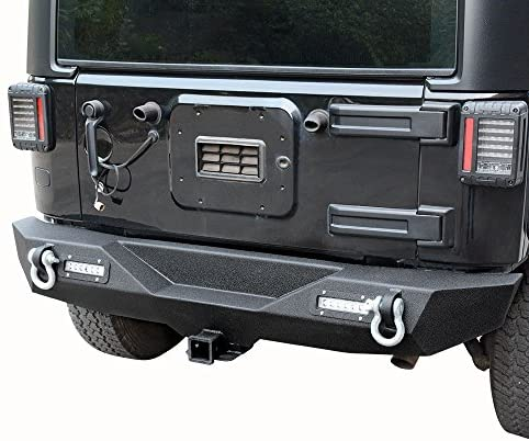Rear Bumper Compatible with 07-18 Jeep Wrangler JK and JK Unlimited with 2x LED Lights & 2″ Hitch Receiver Textured Black