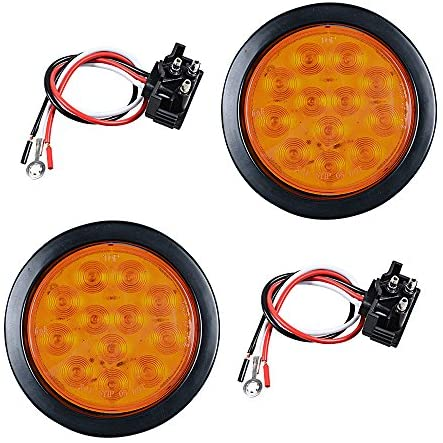2pcs AMBER 4″ Round 12-LED Truck RV Trailer Tail Turn Signal Light w/Rubber Cover Wiring Plug Kit