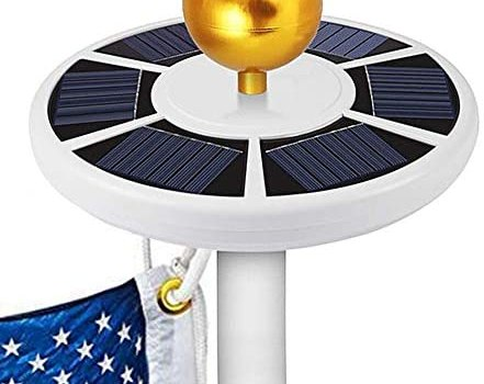GOGODUCKS Solar Flag Pole 26 LED Light IP65 Weatherproof Downlight Lights up Flag on Most 15 to 25 Ft Flagpole with Auto On/Off Night Lighting (White)
