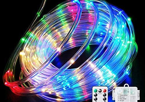 Fitybow LED Rope Lights Battery Operated String Lights 40FT 120 LEDs 8 Modes Fairy Lights with Remote Timer Outdoor Decoration Lighting for Garden Patio Party,Weddings,Christmas Décor (Multi-Color)