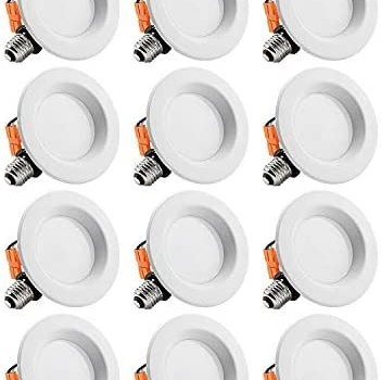 TORCHSTAR 12-Pack 4-Inch Dimmable Recessed LED Downlight, 10W (65W Equivalent), CRI 90, ETL Listed, 5000K Daylight, 700lm, LED Retrofit Lighting Fixture, 5 Years Warranty