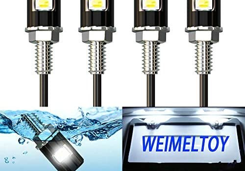 License Plate Light, License Screw Bolt LED, Super Bright 12V Waterproof License Plate LED Bulb Legal for Motorcycle Bike Truck RV ATV, Cool White(4PCS)