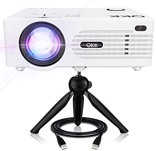 QKK 5000Lux Mini Projector for Outdoor Movies [Tripod Included], 200″ Display Full HD 1080P Supported Portable Outdoor Movie Projector, Compatible with TV Stick, PS4, HDMI, AV, Dual USB