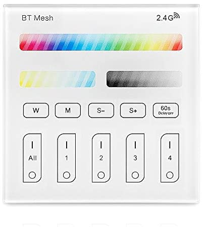 Bluetooth Mesh Smart Touch Panel Remote Controller, FVTLED Wireless 2.4G RF 4-Zone AC 100-240V Dimmable Touchscreen Panel Works for RGBWC Recessed Downlight Bluetooth Mesh LED Bulb