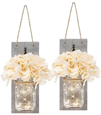Rustic Mason Jar Wall Decor – Distressed Wood Wall Sconces with LED String Lights,6-Hour Timer, Wall Art Farmhouse Decor for Living Room,Bedroom, (Set of 2) Grey