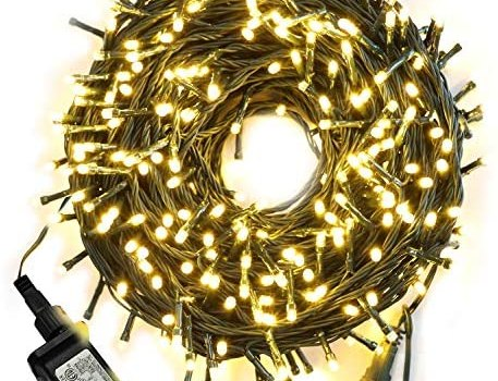 105ft 300 LED Christmas String Lights, End-to-End Plug 8 Modes Christmas Lights – UL Certified – Outdoor Indoor Fairy Lights Christmas Tree, Patio, Garden, Party, Wedding, Holiday, Warm White