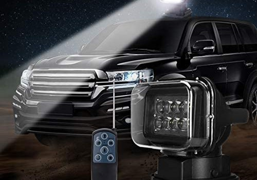 LED Spotlight LED Remote Search Light 12V 50W 360 degree CREE LED Rotating Remote Control Work Light Spot for Hummer Off-road Vehicles PickupTrucks Car Boat SUV Home Security Protection Emergency