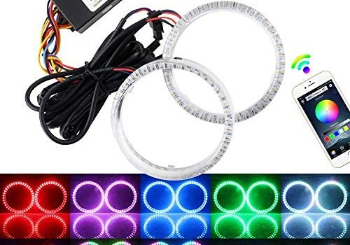 EverBrightt 1 Set 80MM Angel Eyes Multi-Color RGB LED Halo Rings Lights for Car Headlight Lamp Daytime Running Light 5050 Chips Circle Ring with Mobile Phone App Bluetooth Control DC 12V