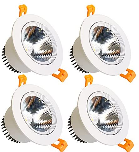LightingWill LED Downlight 9W Dimmable Daylight White 5500K-6000K CRI80 COB Directional Recessed Ceiling Light Cut-Out 3.35in (85mm) 60 Beam Angle 80W Halogen Bulbs Equivalent 4 Pack