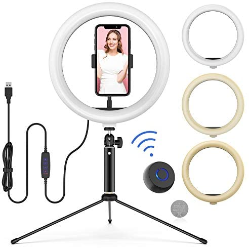 """10"""" LED Ring Light with Tripod Stand Adjustable & Phone Holder, Bluetooth Remote Shutter for Makeup/Live Stream/YouTube Video/Photography, Compatible with iPhone/Android – WONEW ZJ02"""