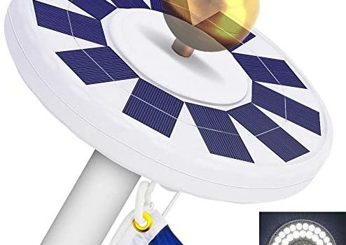 48 LED Solar Flagpole Light, LBell 800 Lux Downlight Lighting for 15 to 25 Ft Flag Pole Topper. Three Models Brightness to Switch- Most Powerful, Brightest, Longest Lasting Night Light