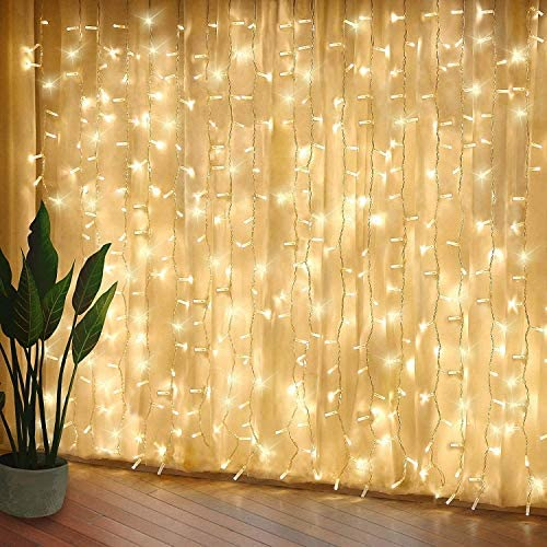 Curtain Lights, Upgrade LED Window Fairy Lights 8 Lighting Modes, Window Icicle Xmas String Lights for Decor