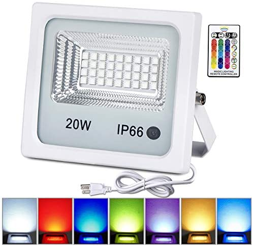 20W RGB LED Flood Lights,Color Changing Floodlight with Remote Control,Waterproof Outdoor Landscape Lighting,16 Colors 4 Mode Dimmable Wall Washer Light,Stage Lighting for Garden,Yard