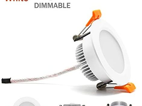 3 inch Dimmable LED Downlight, 110V 5W, 4000K Natural White Retrofit Recessed Lighting, CRI 80 with LED Driver, No Can Needed, 4 Pack