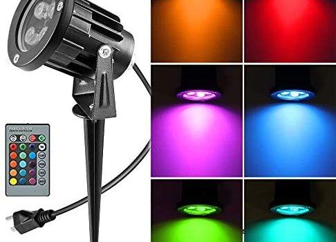 OurLeeme Lawn Flood Light Stake, RGB Spot Lights,8W Outdoor LED Flood Light Waterproof Garden Yard Lights with Remote Control,2-in 1 Landscaping Spotlights for Patio,Pathway, Driveway 85-265V (1 Pc)