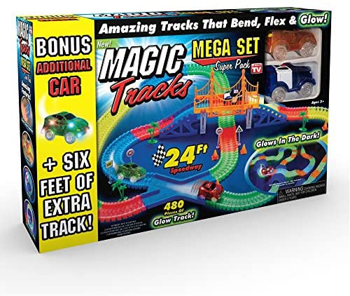Ontel Products Magic Tracks Mega Super Pack Bonus Set, 3 Led Race Cars, 24′ Flexible, Glow in The Dark Racetrack, Multicolored